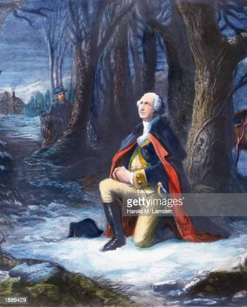 Engraving depicting General George Washington kneeling in prayer during the American Revolutionary War c 1777