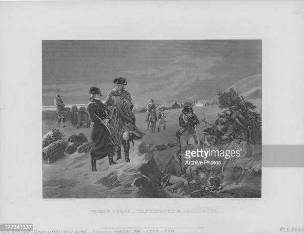 Engraving depicting General George Washington visiting Valley Forge a military camp of the American Continental Army during the American...