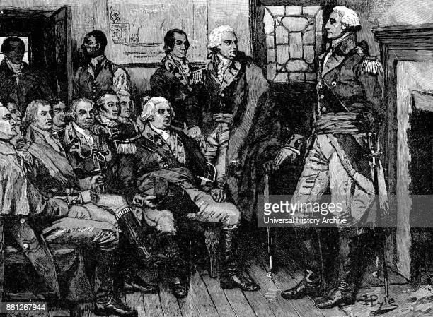 Engraving depicting George Washington an American politician soldier and the first President of the United States meeting with his generals Dated...