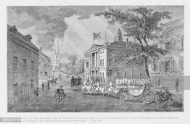 Engraving depicting George Washington enroute to Federal Hall for the first Presidential Inauguration April 30th 1789