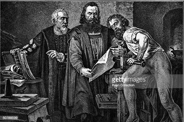 Engraving depicting German printer Johannes Gutenberg and two other men in his workshop looking over the first proof from his printing press 15th...