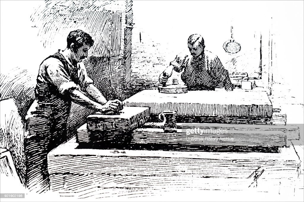 Engraving depicting grinding lithographic stones. Dated 19th century.