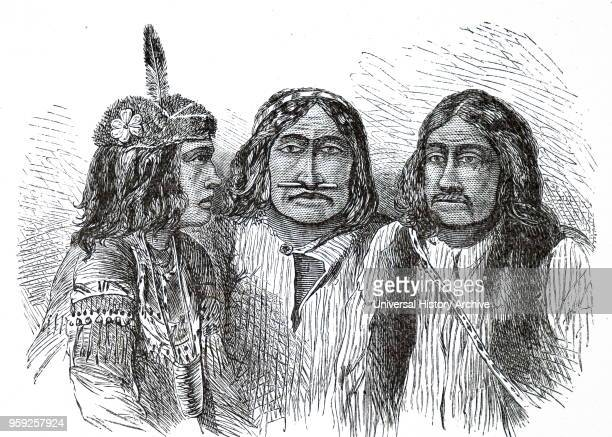 Engraving depicting Gwich'in Indians. The Gwich'in are an Athabaskan-speaking First Nations people of Canada and an Alaska Native people. Dated 19th...