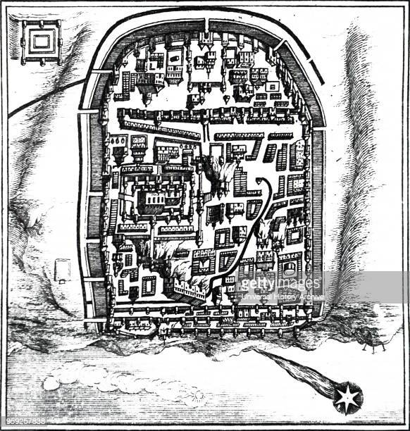 Engraving depicting Halley's Comet passing over Jerusalem in 66 AD. Discovered by Edmond Halley an English astronomer, geophysicist, mathematician,...