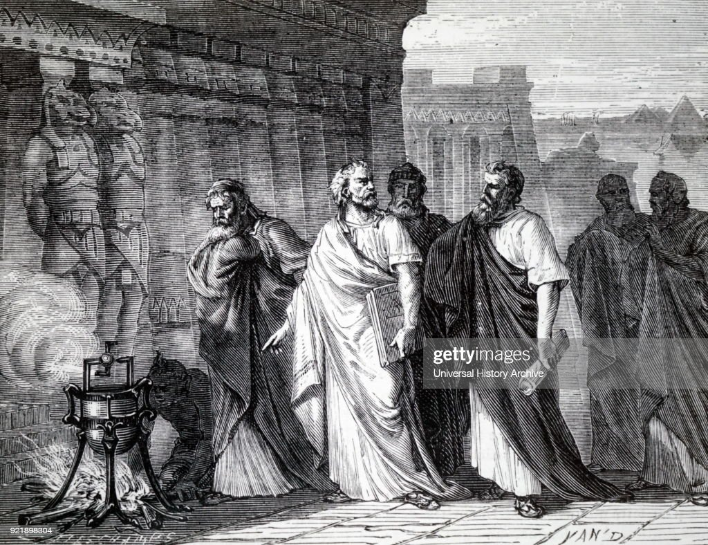 Engraving depicting Hero of Alexandria demonstrating his aeolipile. Hero of Alexandria (10 AD- c. 70 AD) a Roman Egyptian mathematician and engineer. Dated 19th century.