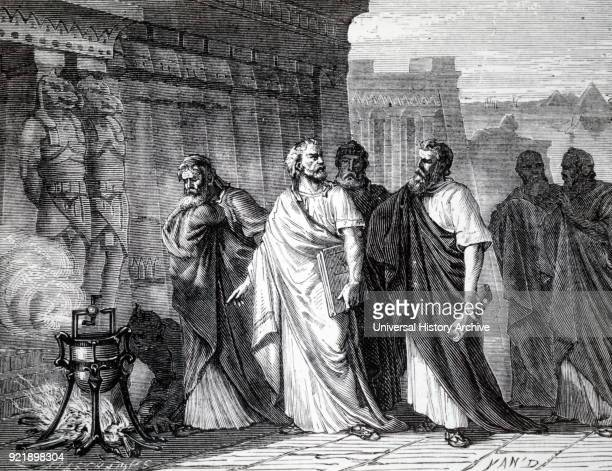 Engraving depicting Hero of Alexandria demonstrating his aeolipile Hero of Alexandria a Roman Egyptian mathematician and engineer Dated 19th century