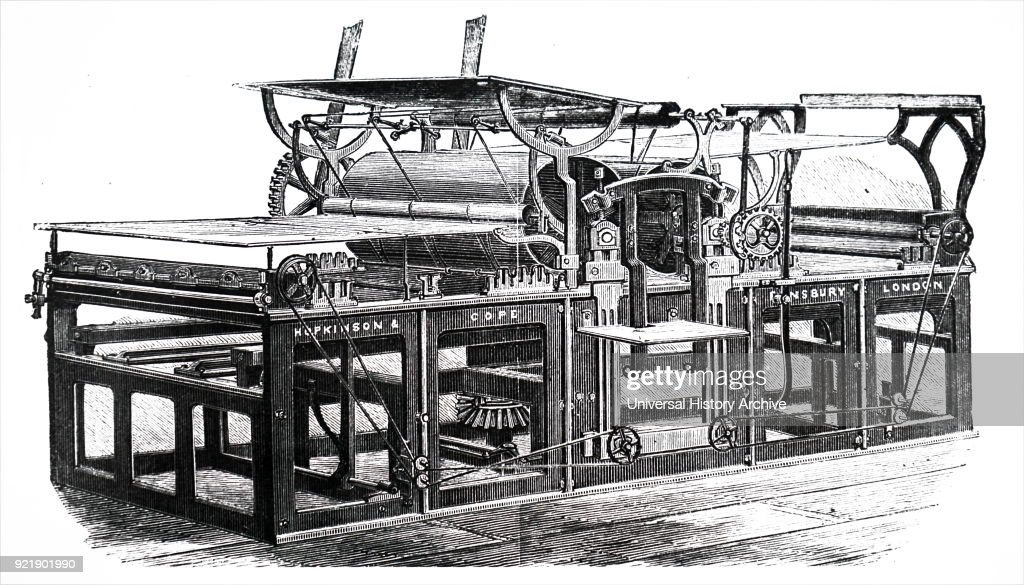 Engraving depicting Hopkinson & Cope's steam powered rotary press. Dated 19th century.