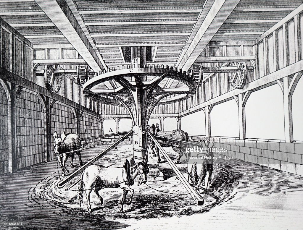 Engraving depicting horses providing power for a hoist and a grinding mill on the floor above. Dated 18th century.