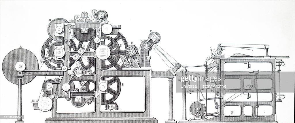 Engraving depicting Ingram's rotary printing machine, used for printing illustrated newspapers. Dated 19th century.