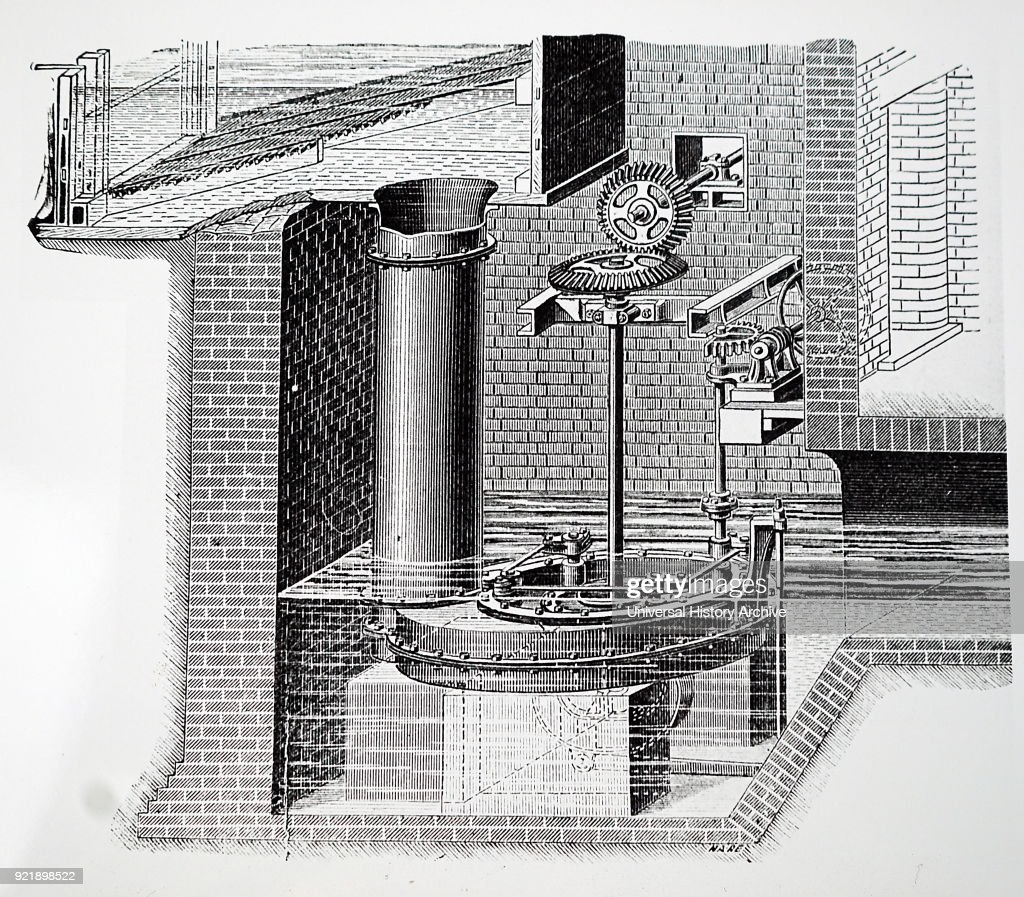 Engraving depicting James Thomson's turbine operating vertically. James Thomson (1822-1892) a Scottish engineer and physicist. Dated 19th century.