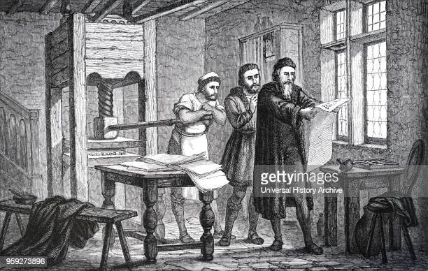 Engraving depicting Johannes Gutenberg examining the first page of the Bible as it came off the press Johannes Gutenberg was a German blacksmith...