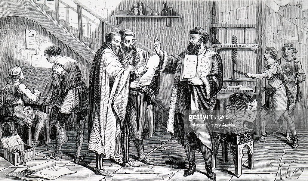 Engraving depicting Johannes Gutenberg's printing shop. Johannes Gutenberg (1400-1468) a German blacksmith, goldsmith, printer, and publisher who introduced printing to Europe. Dated 19th century.