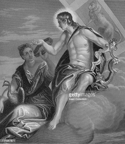 Engraving depicting Juno and Apollo both are among the Dii Consentes the list of twelve deities comprising six gods and six goddesses in GrecoRoman...