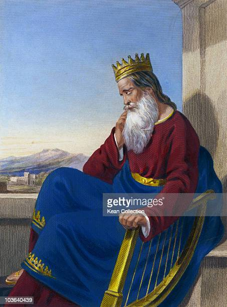 Engraving depicting King David pictured wearing a crown and sitting beside a harp circa 960 BC King David was the second King of Israel famous for...