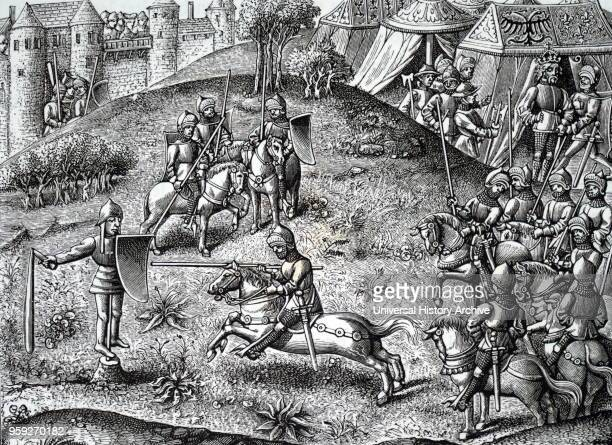 Engraving depicting knights practising quintain also known as pavo may have included a number of lance games often used as training for jousting...