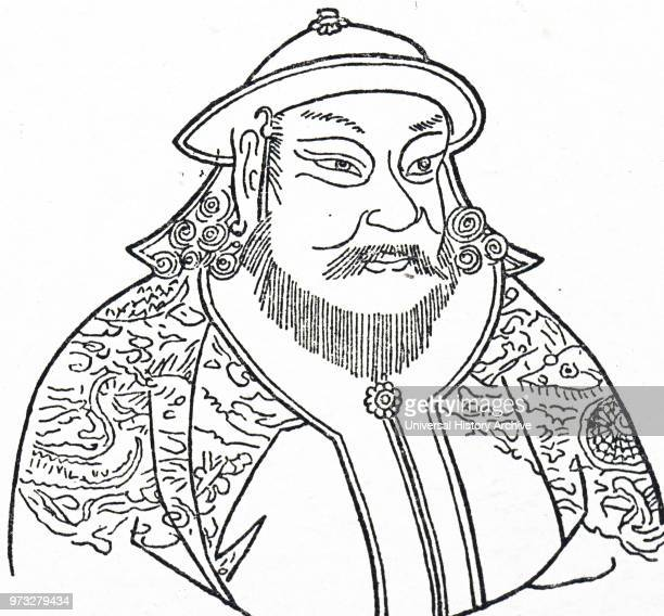 Engraving depicting Kublai Khan the fifth Khagan of the Mongol Empire and founder of the Yuan dynasty in China Dated 14th century