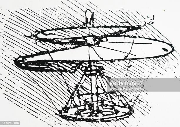 Engraving depicting Leonardo da Vinci's Archimedean screw helicopter Leonardo da Vinci an Italian polymath artist and inventor Dated 15th Century