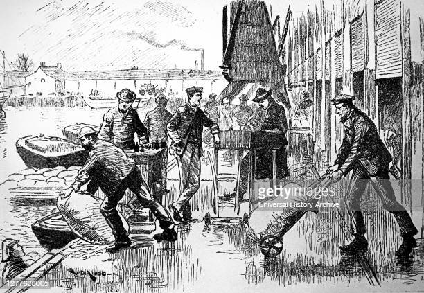 Engraving depicting London dockers at work in the East India Docks.