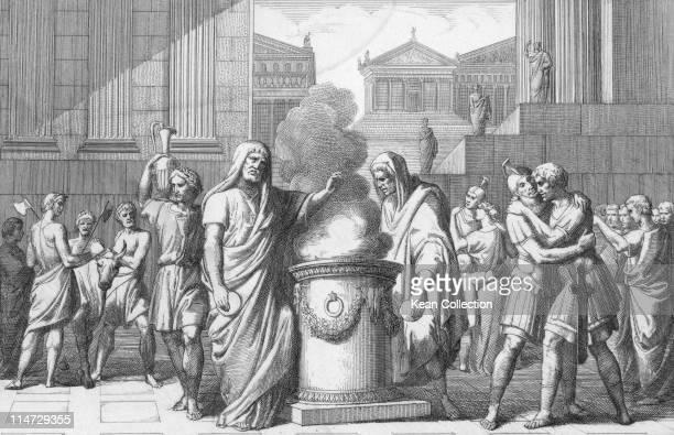 Engraving depicting Marcus Furius Camillus , Roman soldier, and consul of the Roman republic, Marcus Manlius Capitolinus surrounded by a celebrating...