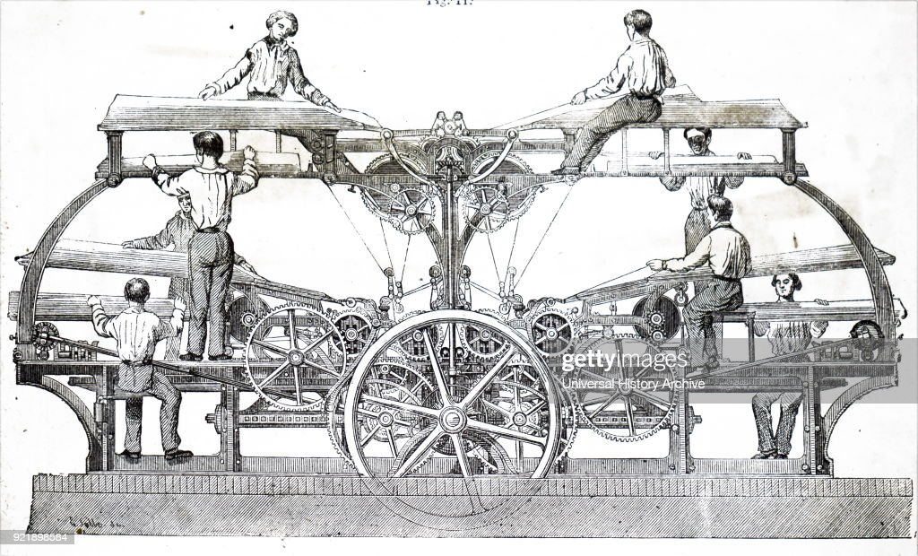 Engraving depicting Marioni's cylinder press used to illustrated work. This machine could turn out 7,000 copies per hour with hard packing on dry paper. Dated 19th century.