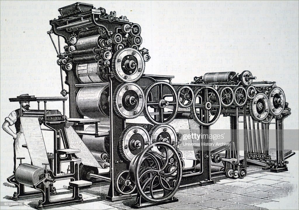 Engraving depicting Marioni's rotary press used to illustrated work. This machine could turn out 7,000 copies per hour with hard packing on dry paper. Dated 19th century.