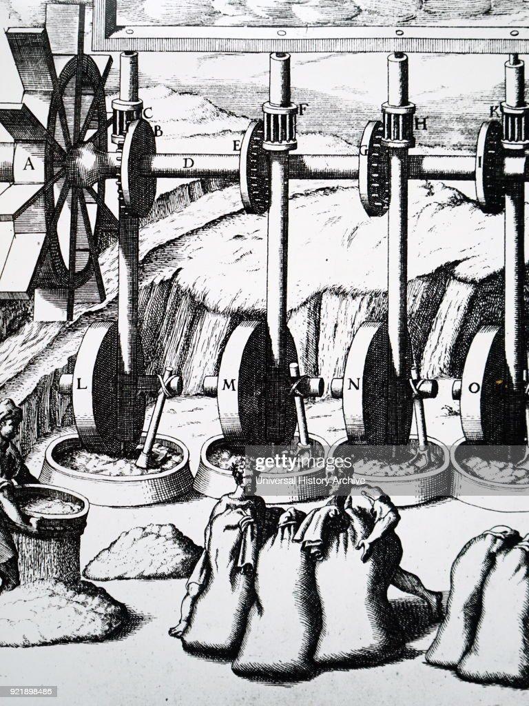 Engraving depicting multiple grinding mills powered by an undershot water wheel. Dated 17th century.