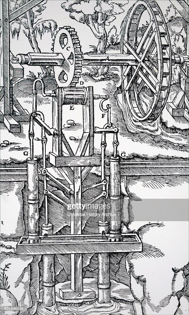 Engraving depicting multiple suction pumps, powered by an overshot water wheel through a toothed wheel and drum (C,D,E), being used to raise water from a mine. Dated 16th century.