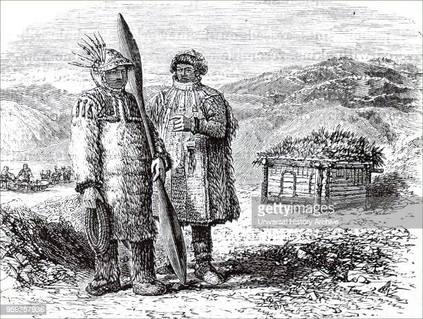 Engraving depicting natives of Unalaska one of the islands in the Aleutian Islands Dated 19th century