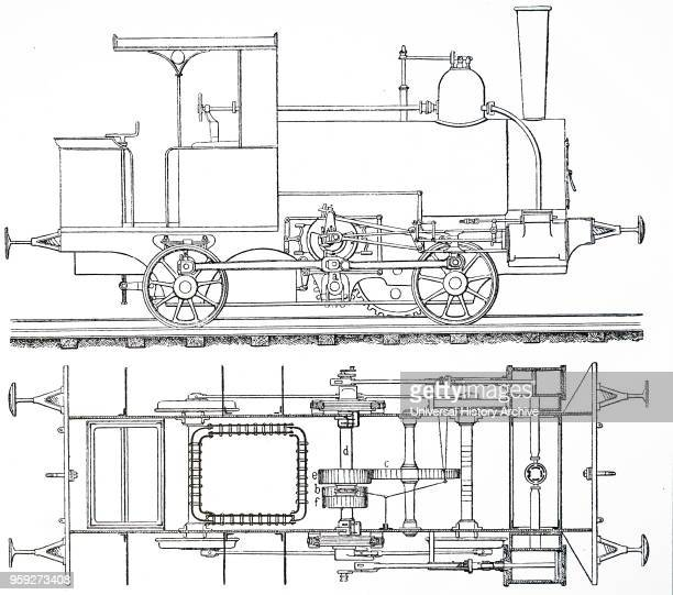 Engraving depicting Nicklaus Riggenbach's locomotive for his rack railway system Nicklaus Riggenbach a French inventor Dated 19th century