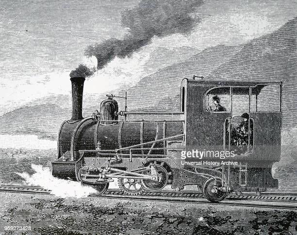 Engraving depicting Nicklaus Riggenbach's rack railway at Kahlenberg Vienna Nicklaus Riggenbach a French inventor Dated 19th century