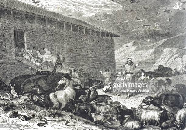 Engraving depicting Noah supervising the entry of the animals into the Ark Dated 19th century