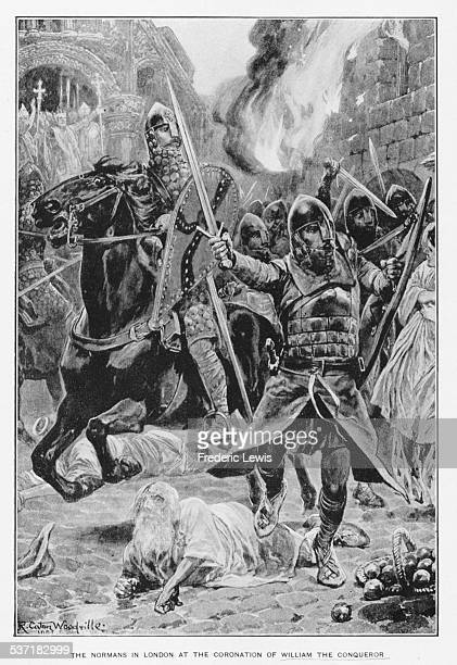 Engraving depicting Normans in battle prior to the coronation of William the Conqueror of England London December 25th 1066