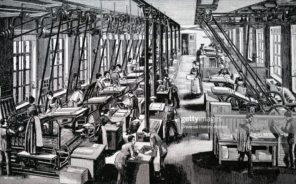 Engraving depicting Numann's printing works. Dated 19th century.