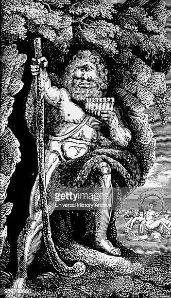 Engraving depicting Polyphemus the giant son of Poseidon and Thoosa in Greek mythology and one of the Cyclopes described in Homer's Odyssey Dated...