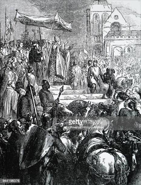 Engraving depicting Pope Urban II before his papacy he was the Bishop of Ostia under the name Eudes Dated 19th century