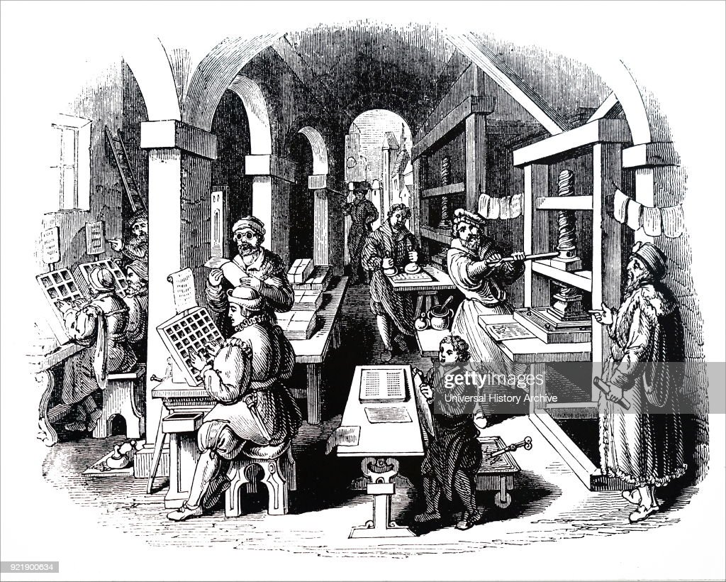 Engraving depicting printing in China. Dated 19th century.