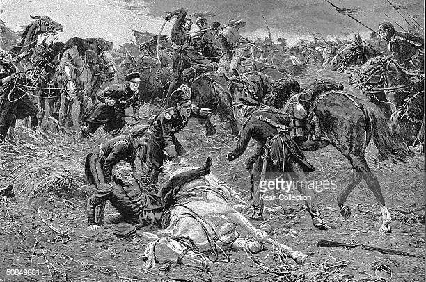 Engraving depicting Prussian general Blucher's fall from his horse during combat at the Battle of Ligny Belgium February to June 1815