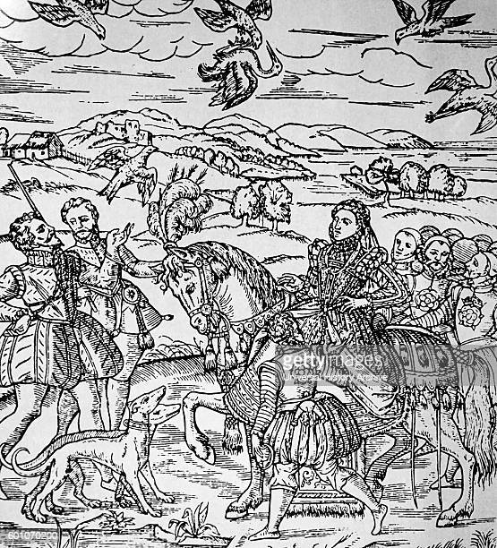 Engraving depicting Queen Elizabeth I of England hawking Hawking is the hunting of wild quarry in its natural state and habitat by means of a trained...