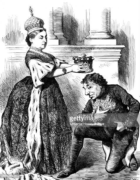 Engraving depicting Queen Victoria presenting Benjamin Disraeli with an Earl's coronet Dated 19th Century