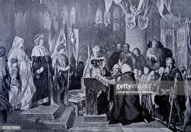 Engraving depicting representatives of Berlin and Cologne swearing allegiance to King Frederick IV Dated 15th Century