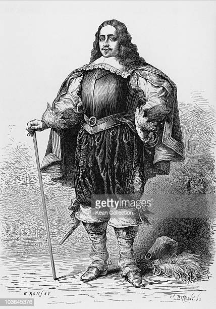 Engraving depicting Richard Cromwell pictured in elaborate dress with a chest plate and leaning on a walking cane Great Britain circa 1670 Cromwell...
