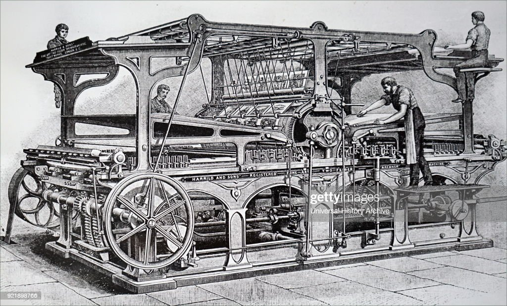 Richard March Hoe's rotary printing press. : News Photo