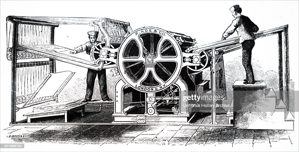 Engraving depicting Richard March Hoe's rotary printing press. Richard March Hoe (1812-1886) an American inventor from New York City who designed a rotary printing press and related advancements. Dated 19th century.