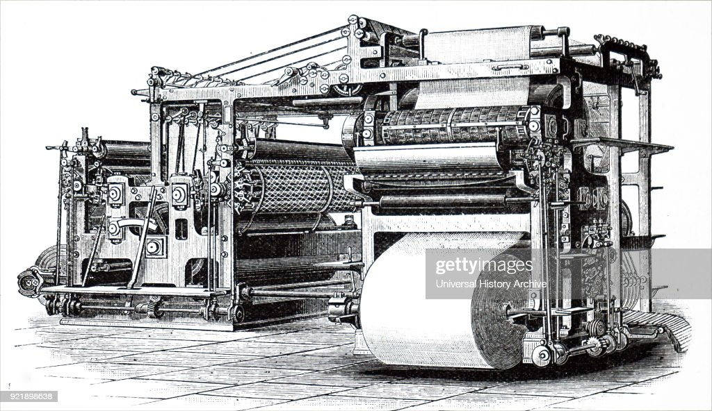 Engraving depicting Richard March Hoe's six cylinder printing press. Richard March Hoe (1812-1886) an American inventor from New York City who designed a rotary printing press and related advancements. Dated 19th century.