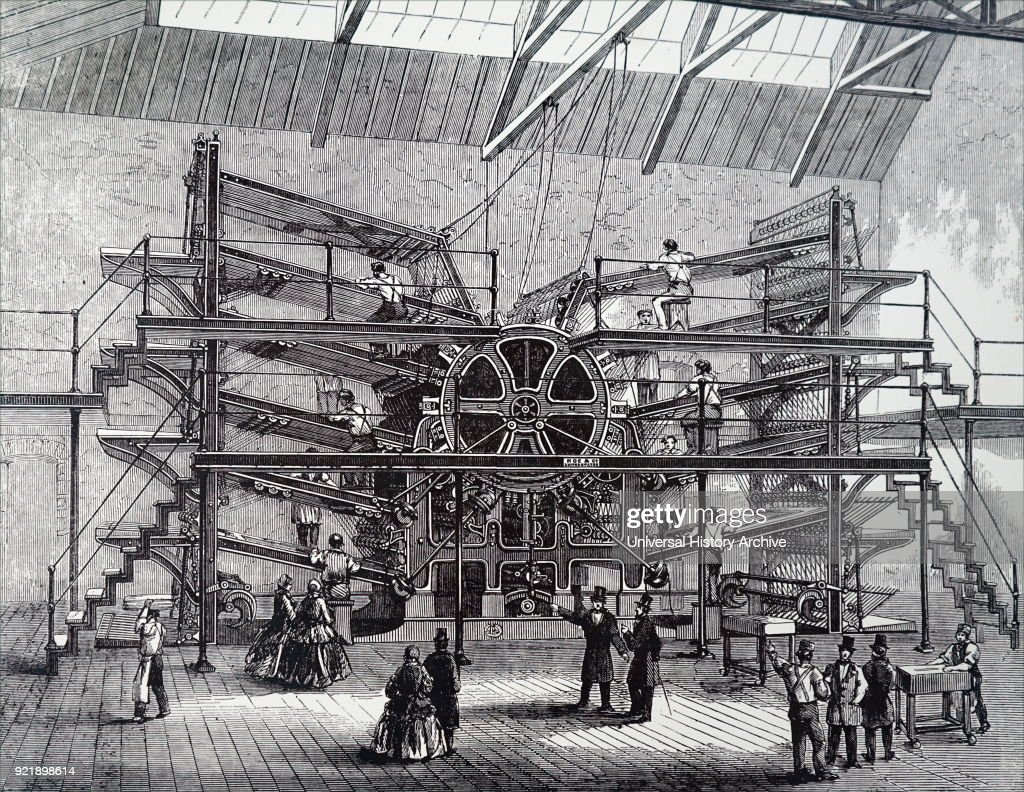 Engraving depicting Richard March Hoe's ten-feeder rotary printing press. Richard March Hoe (1812-1886) an American inventor from New York City who designed a rotary printing press and related advancements. Dated 19th century.