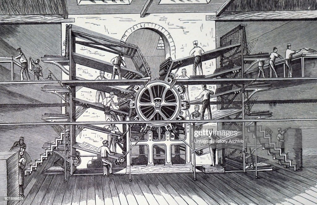 Richard March Hoe's ten-feeder rotary printing press. : News Photo