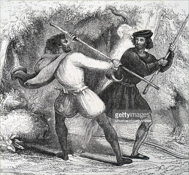 Engraving depicting Robin Hood a legendary English folk hero and outlaw champion of the poor An expert with the longbow and quarterstaff Robin...