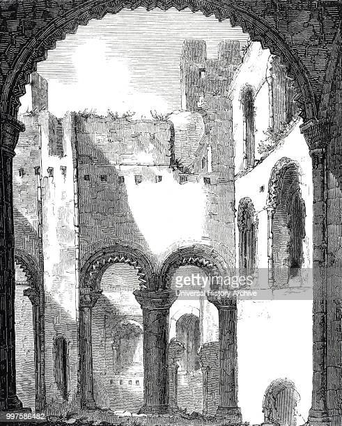 Engraving depicting Rochester Castle Kent Interior of remains of Rochester Castle Dated 19th century