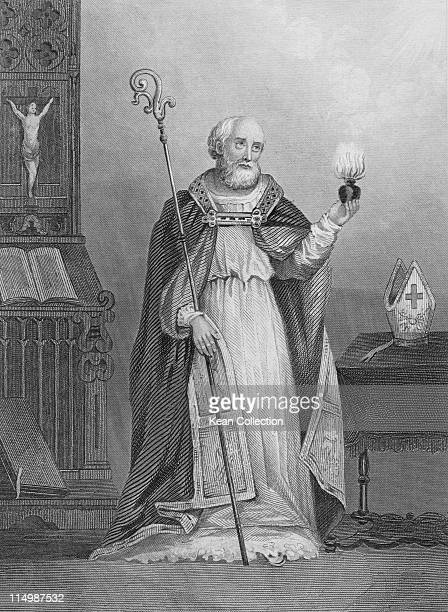Engraving depicting Saint Augustine of Hippo philosopher and theologian stands holding a flaming heart and a shepherd's crook circa 420 Augustine...