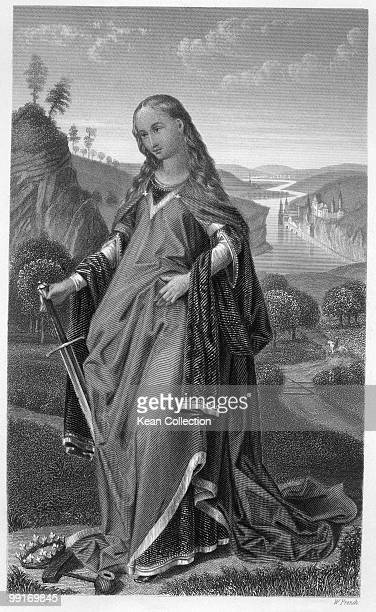 Engraving depicting Saint Catherine of Alexandria Christian saint and martyr who is claimed to have been a noted scholar in the early 4th century...